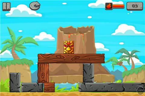 游戏中,玩家在消除所有木块的同时,不能让图腾掉到地板上.